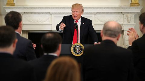 President Donald Trump hosts a business session with state governors in the State Dining Room at the White House February 26, 2018 in Washington, DC.