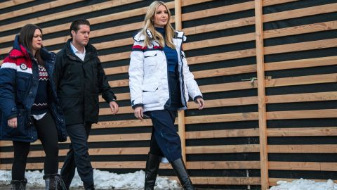 PYEONGCHANG-GUN, SOUTH KOREA - FEBRUARY 25: Ivanka Trump (R) arrives with White House Press Secretary Sarah Huckabee Sanders (L) to visit U.S.A House on day sixteen of the PyeongChang 2018 Winter Olympic Games on February 25, 2018 in Pyeongchang-gun, South Korea. Ivanka Trump is on a four-day visit to South Korea to attend the closing ceremony of the PyeongChang Winter Olympics. (Photo by Carl Court/Getty Images)