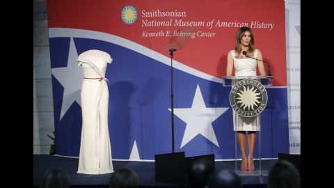 """Trump speaks at an October ceremony after <a href=""""https://www.cnn.com/2017/10/18/politics/melania-trump-gown-smithsonian/index.html"""" target=""""_blank"""">donating her inaugural gown</a> to the National Museum of American History. It will be part of the museum's First Ladies Collection."""