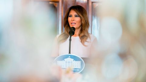 """Melania Trump <a href=""""https://www.cnn.com/2018/02/26/politics/melania-trump-student-activists-parkland-shooting/index.html"""" target=""""_blank"""">speaks to the spouses of US governors </a>at a White House luncheon in February. Among the topics she touched on were cyberbullying and the opioid epidemic. She also acknowledged the students around the country who have been fighting the gun lobby since the tragic school shooting in Parkland, Florida."""