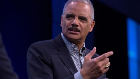 """Former U.S. Attorney General Eric Holder speaks during an interview at the Washington Post on February 27, 2018 in Washington, DC.  During an interview with Washington Post writer Jonathan Capehart, Holder discussed Special Counsel Robert Muller's investigation into alleged Russian meddling in the 2016 US presidential election, as well as his efforts to reform what he calls the """"biggest rigged system in America"""" through a national redistricting effort. (Photo by Toya Sarno Jordan/Getty Images)"""