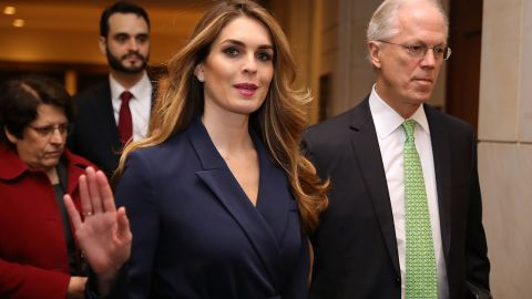 WASHINGTON, DC - FEBRUARY 27:  White House Communications Director and presidential advisor Hope Hicks waves to reporters as she arrives at the U.S. Capitol Visitors Center February 27, 2018 in Washington, DC. Hicks is scheduled to testify behind closed doors to the House Intelligence Committee in its ongoing investigation into Russia's interference in the 2016 election.  (Photo by Chip Somodevilla/Getty Images)