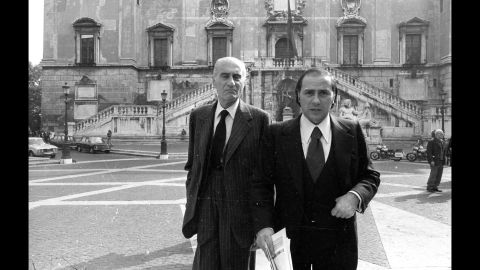 Berlusconi, right, with journalist Indro Montanelli in 1977.
