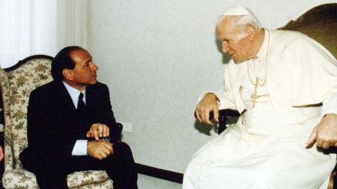 Berlusconi meets with Pope John Paul II on May 21, 1994.