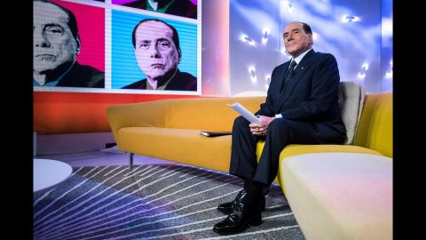 """Berlusconi appears on the television program """"Tagada"""" in February 2018. Italy will hold general elections on March 4, and Berlusconi, as leader of the Forza Italia party, has brokered a right-wing alliance with the neo-fascist Brothers of Italy party and the anti-immigrant Northern League."""
