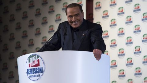 Berlusconi gives a speech during a political rally in Milan in February 2018.