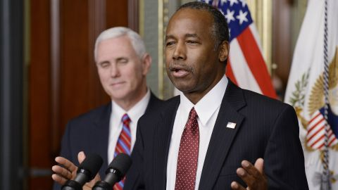 WASHINGTON, DC - MARCH 2:  Ben Carson speaks after being sworn in as secretary of housing and urban development  by Vice President Mike Pence on March 2, 2017 in Washington, DC.  (Photo by Olivier Douliery-Pool/Getty Images)