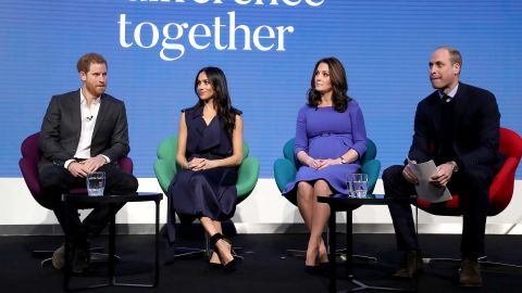 Prince Harry, Meghan Markle, Catherine, Duchess of Cambridge and Prince William, Duke of Cambridge attend the first annual Royal Foundation Forum held at Aviva on February 28 in London.