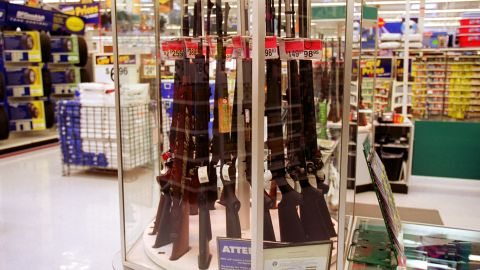 373812 01: Guns for sale at a Wal-Mart, July 19, 2000. Wal-Mart and one of their chief spokespeople, Rosie O''Donnell, are at odds over the issue of guns and whether they should be available at chain stores. (Photo by Newsmakers)