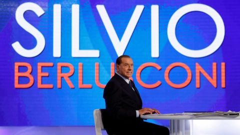 """Berlusconi appears on the television talk show """"L'aria che tira"""" in Rome in January 2018."""