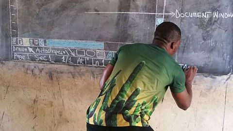 Photos of a Ghanian teacher drawing Microsoft Word on a blackboard have gone viral.