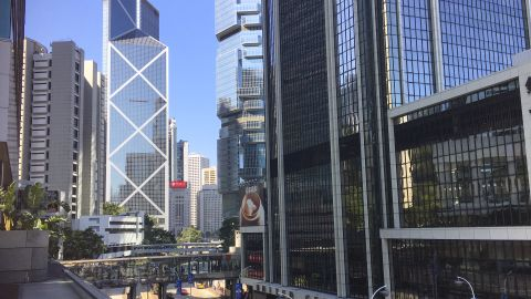 The temptation to get in a car and drive is minimized by footbridges and elevators that provide easier access to walking routes in Hong Kong.