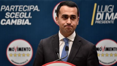 Leader of the anti-establishment Five Star Movement (M5S), Luigi Di Maio delivers a speech during the presentation of the movement's parliamentary candidates for the upcoming March general elections, on January 29, 2018 in Rome.  / AFP PHOTO / Tiziana FABI        (Photo credit should read TIZIANA FABI/AFP/Getty Images)