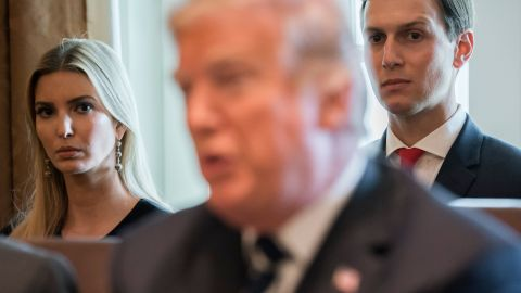 US President Donald Trump speaks alongside his daughter, Ivanka Trump (L) and her husband, Senior White House Adviser Jared Kushner (R) during a Cabinet Meeting in the Cabinet Room of the White House in Washington, DC, October 16, 2017. / AFP PHOTO / SAUL LOEB        (Photo credit should read SAUL LOEB/AFP/Getty Images)