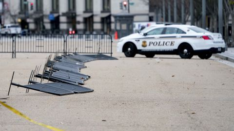 High winds down barricades outside the White House on March 2.