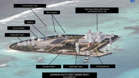 This aerial photograph of Johnson South Reef reef obtained by the Philippine Inquirer and taken on November 28, 2017, shows Chinese militarization and reclamation on the reef.