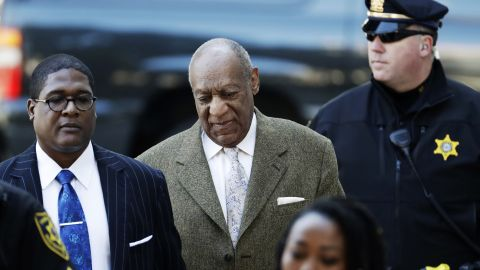Bill Cosby, center, arrives for a pretrial hearing in his sexual assault case at the Montgomery County Courthouse, Monday, March 5, 2018, in Norristown, Pa.