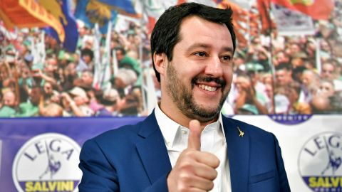 Lega far right party leader Matteo Salvini (C) puts a thumb up as he arrives at the Lega headquarter in Milan on March 5, 2018 for a press conference ahead of the Italy's general election results. A surge for populist and far-right parties in Italy's weekend election could result in a hung parliament with a right-wing alliance likely to win the most votes but no majority, AFP reports. / AFP PHOTO / Piero CRUCIATTI        (Photo credit should read PIERO CRUCIATTI/AFP/Getty Images)