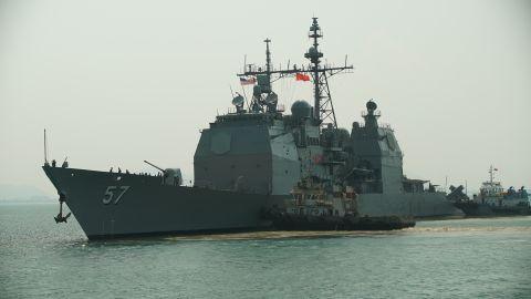 The USS Mitscher is seen off the Vietnamese coast Monday.