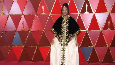 Tiffany Haddish is decked out in Eritrean regalia to honor her heritage at the 90th Annual Academy Awards on March 4, 2018, in Hollywood, California.
