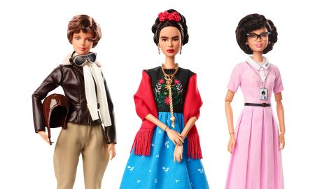 """Just ahead of International Women's Day last year, Barbie introduced a batch of new dolls <a href=""""https://www.cnn.com/2018/03/06/us/barbie-dolls-inspiring-women-trnd/index.html"""" target=""""_blank"""">based on real-life figures.</a> From left are Amelia Earhart, Frida Kahlo and Katherine Johnson."""