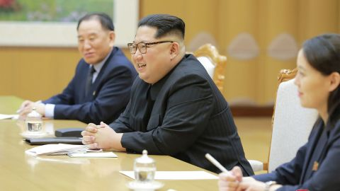 This picture  released from North Korea's official Korean Central News Agency (KCNA) on Tuesday shows North Korean leader Kim Jong Un (center) meeting with the South Korean delegation. To Kim's right is his sister and confidante, Kim Yo Jong.