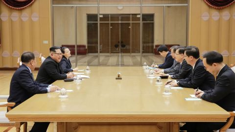 """This picture taken on March 5, 2018 and released from North Korea's official Korean Central News Agency (KCNA) on March 6, 2018 shows North Korean leader Kim Jong-Un (2nd L) meeting with South Korean delegation, who travelled as envoys of the South's President Moon Jae-in, in Pyongyang.    North Korean leader Kim Jong Un discussed ways to ease tensions on the peninsula with visiting South Korean envoys, the state KCNA news agency reported on March 6. / AFP PHOTO / KCNA VIA KNS / STR / / AFP PHOTO / KCNA VIA KNS / STR / SOUTH KOREA OUT / REPUBLIC OF KOREA OUT   ---EDITORS NOTE--- RESTRICTED TO EDITORIAL USE - MANDATORY CREDIT """"AFP PHOTO/KCNA VIA KNS"""" - NO MARKETING NO ADVERTISING CAMPAIGNS - DISTRIBUTED AS A SERVICE TO CLIENTS        (Photo credit should read STR/AFP/Getty Images)"""