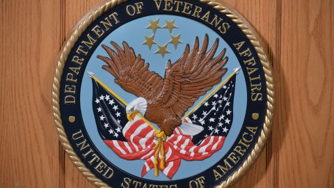 The seal of the Department of Veterans Affairs is seen in an auditorium on February 5, 2013 at the Department of Veterans Affairs in Washington.    AFP PHOTO/Mandel NGAN        (Photo credit should read MANDEL NGAN/AFP/Getty Images)
