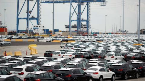 Bayerische Motoren Werke AG (BMW) vehicles, assembled in the U.S., sit parked before being driven onto vehicle carrier ships at the Port of Charleston in Charleston, South Carolina, U.S., on Tuesday, Oct. 4, 2016. The U.S. Census Bureau is scheduled to release wholesale trade figures on October 7. Photographer: Luke Sharrett/Bloomberg via Getty Images
