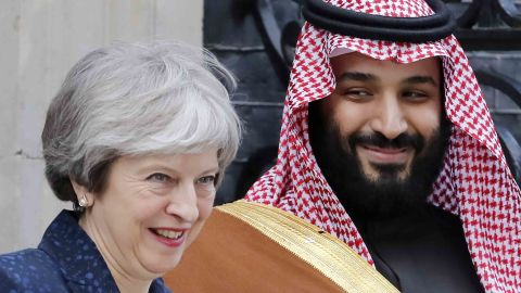 Saudi Arabia's Crown Prince Mohammed bin Salman with UK Prime Minister Theresa May in London on March 7.