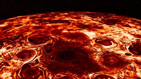 This composite image, derived from data collected by the Jovian Infrared Auroral Mapper (JIRAM) instrument aboard NASA's Juno mission to Jupiter, shows the central cyclone at the planet's north pole and the eight cyclones that encircle it.