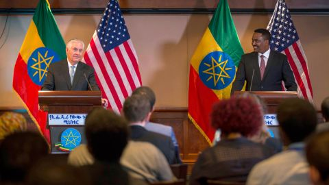 US Secretary of State Rex Tillerson, left, addresses the media after his meeting with Ethiopian Foreign Minister Dr. Workneh Gebeyehu at a joint press conference in Addis Ababa, Ethiopia, Thursday, March 8, 2018. The top U.S. diplomat and a top African official tried Thursday to move past President Donald Trump's slur about Africa, deeming it a closed matter that need not be revisited.