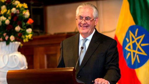 US Secretary of State Rex Tillerson, addresses the media after his meeting with Ethiopian Foreign Minister Dr. Workneh Gebeyehu, at a joint press conference in Addis Ababa, Ethiopia, Thursday, March 8, 2018. The top U.S. diplomat and a top African official tried Thursday to move past President Donald Trump's slur about Africa, deeming it a closed matter that need not be revisited.