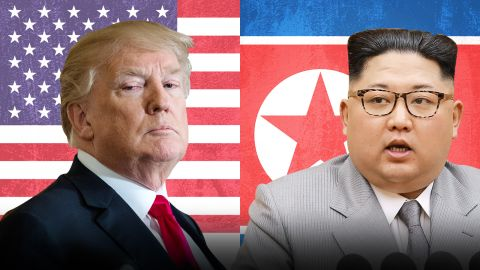 Photo illustration on Trump and North Korean leader Kim Jong Un.