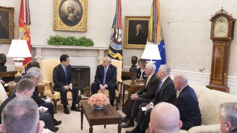 White House meeting with the South Korean delegation on March 8, 2018