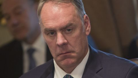 WASHINGTON, DC - DECEMBER 20:  U.S. Secretary of the Interior Ryan Zinke listens during a Cabinet meeting at the White House December  20, 2017 in Washington, DC. President Donald Trump in the meeting extolled passage of the tax reform package as it nears, called for an end to the immigration visa lottery and celebrated the repeal of the Obamacare individual mandate included in the tax package. Trump did not take questons.  (Photo by Chris Kleponis-Pool/Getty Images)