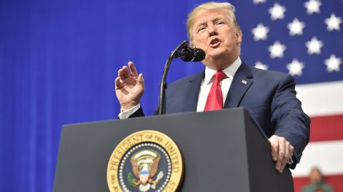 US President Donald Trump delivers remarks at the Make America Great Again Rally on March 10, 2018 in Moon Township, Pennsylvania. / AFP PHOTO / Nicholas Kamm        (Photo credit should read NICHOLAS KAMM/AFP/Getty Images)