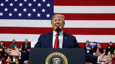 U.S. President Donald Trump speaks at a campaign rally at Atlantic Aviation in Moon Township, Pa., Saturday, March 10, 2018. (AP Photo/Carolyn Kaster)