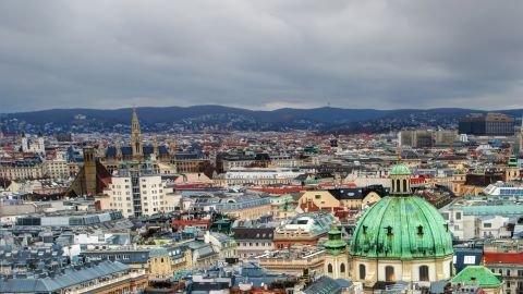Aerial scenic view of city center from St. Stephen's Cathedral in Vienna, Austria