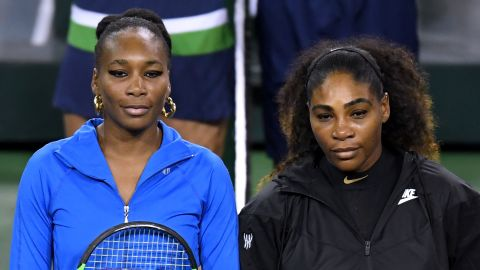 Venus (left) and Serena Williams met for the 29th time on Monday, with Serena leading her older sister 17-11 in victories. This encounter took place in Indian Wells, California.