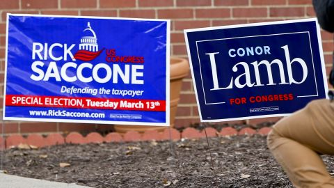 A cameraman takes footage of the signs for the two candidates outside a polling place in the special election being held for the PA 18th Congressional District vacated by Republican Tim Murphy, Tuesday, March 13, 2018, in McKeesport, Pa. Republican Rick Saccone had just voted at the site. Saccone is running against Democrat Conor Lamb. (AP Photo/Keith Srakocic)