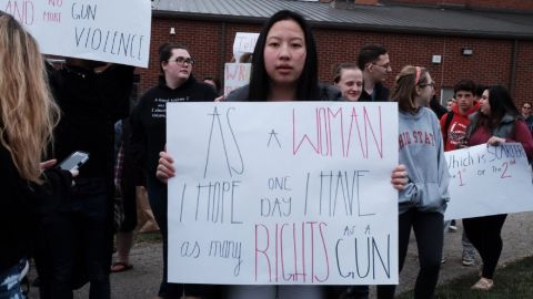 Students from Kings High School in Kings Mill, Ohio call for gun reform.