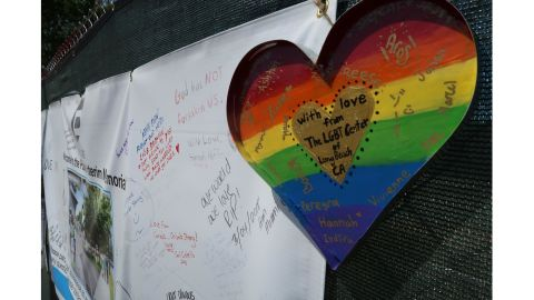 Words of encouragement adorn the fence outside the former nightclub Tuesday.