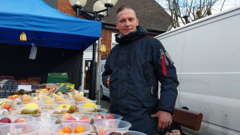 Danny Styles, outside his market stall in the center of Salisbury.