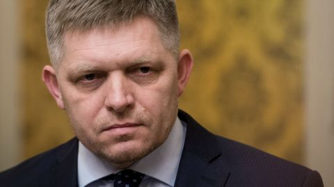 Slovakian Prime Minister Robert Fico at a news conference on Wednesday.