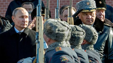 Russian President Vladimir Putin (L) and Defence Minister Sergey Shoygu (R) attend a wreath laying ceremony at the Tomb of the Unknown Soldier near the Kremlin wall to mark Defender of the Fatherland Day in Moscow on February 23, 2018.  Defender of the Fatherland Day, celebrated in Russia on February 23, honours the nation's army and is a nationwide holiday.  / AFP PHOTO / Yuri KADOBNOV        (Photo credit should read YURI KADOBNOV/AFP/Getty Images)