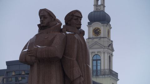 """A controversial statue honoring Latvia's """"red riflemen,"""" who made up a faction of the Imperial Russian Army during World War I."""