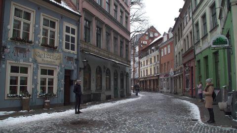 A cobbled street in Latvia's sleepy capital of Riga.