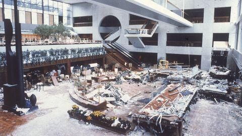The wreckage of two catwalks is scattered through the lobby of the Kansas City Hyatt Regency Hotel on July 19, 1981.