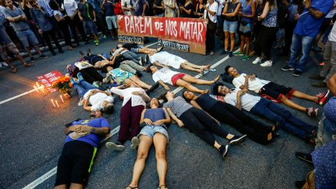 Demonstrators rally in Sao Paulo after the killings.